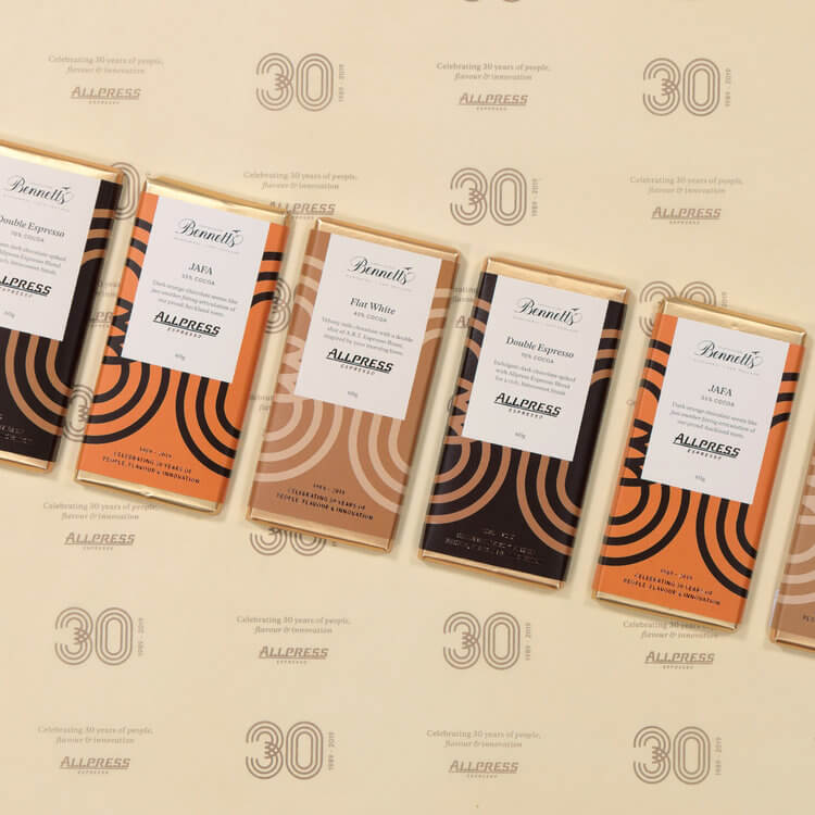Allpress Chocolates lined up on Flat Lay Photography Machine Auckland.