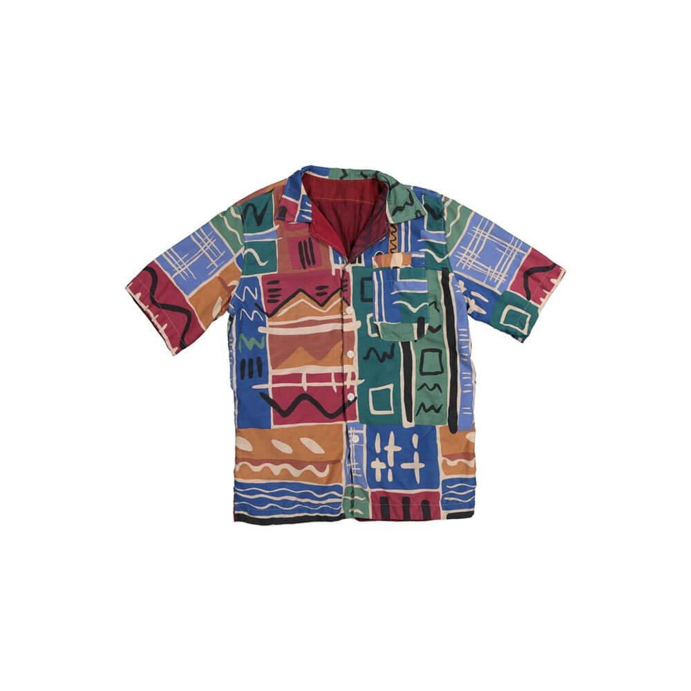 Male Multicoloured shirt, green, red, yellow with white pattern.
